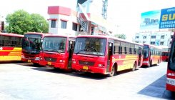 Bus port on the line of airport in offing