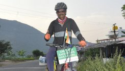 Pedalling his way to spread awareness