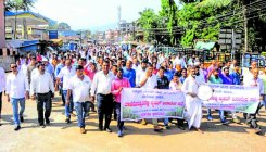 Protest against implementation of Kasturirangan report