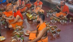 Hundreds witness Brahmakalashabhisheka