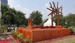 India's largest charkha made of waste plastic in Noida