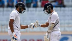 Ton-up Rahane, Sharma extend India's power in 3rd Test