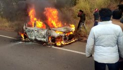 Woman burnt alive after car catches fire