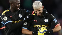 Aguero's record-breaking hat-trick thrashes Villa