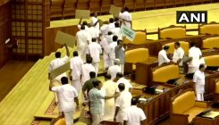 High drama in Kerala Assembly as UDF MLAs stage walkout