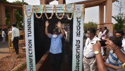 Disinfection tunnel inaugurated at Hubballi APMC