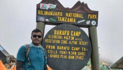 Kannada flag on Kilimanjaro
