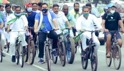 Tejashwi protests against fuel price hike on bicycle