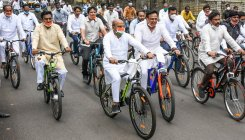 Fuel price hike: Cong leaders protest on bicycles