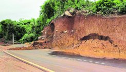 Hillock caves in on Kateel road