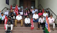 Trade union members stage protest