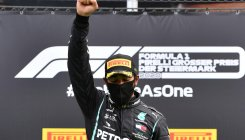 'Unicorn' Hamilton raises fist to celebrate Styrian win