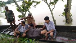 Animals run helter skelter as Kaziranga goes underwater