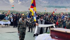 Indian, Tibetan flags waved at unsung martyr's funeral