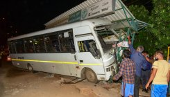 Private bus ploughs into passengers at BMTC bus stop