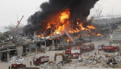 Fire erupts in Beirut port area, a month after blast