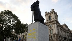 London statue of Winston Churchill defaced again